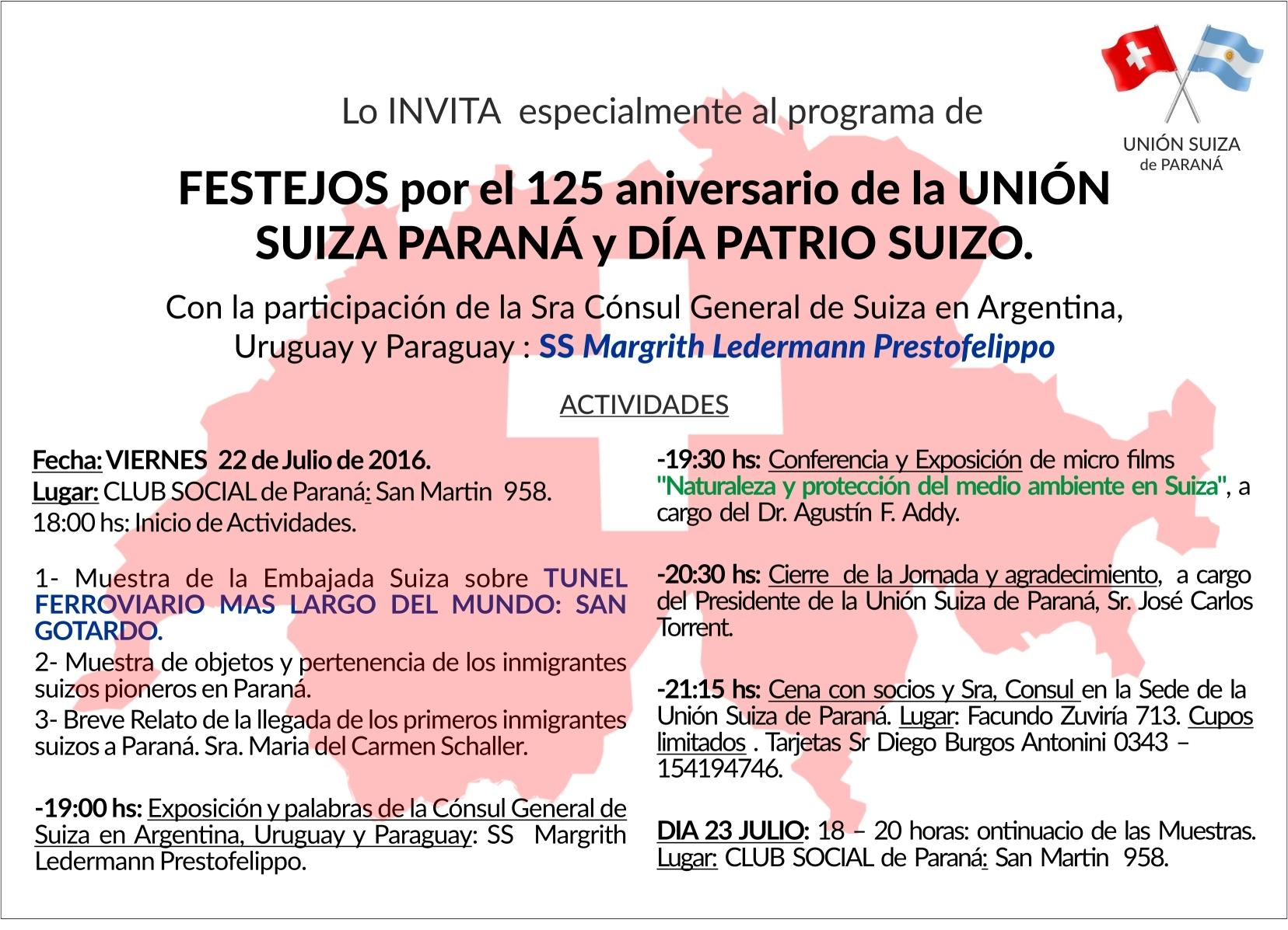 Invitacion a Celebracion por los 125 anos UNIoN SUIZA DE PARANa-22 julio 2016-