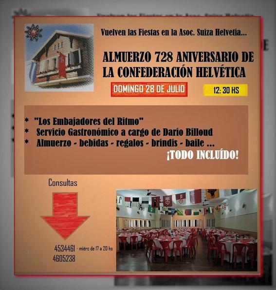 Invitación Fiesta Nacional Suiza 2019 de la Asociación Suiza «Helvetia» de Santa Fe